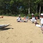灼熱の城公園で練習開始!