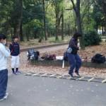 林の中で練習です!
