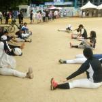 城の軟式野球場で練習!