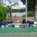 始まる真田山運動場練習。